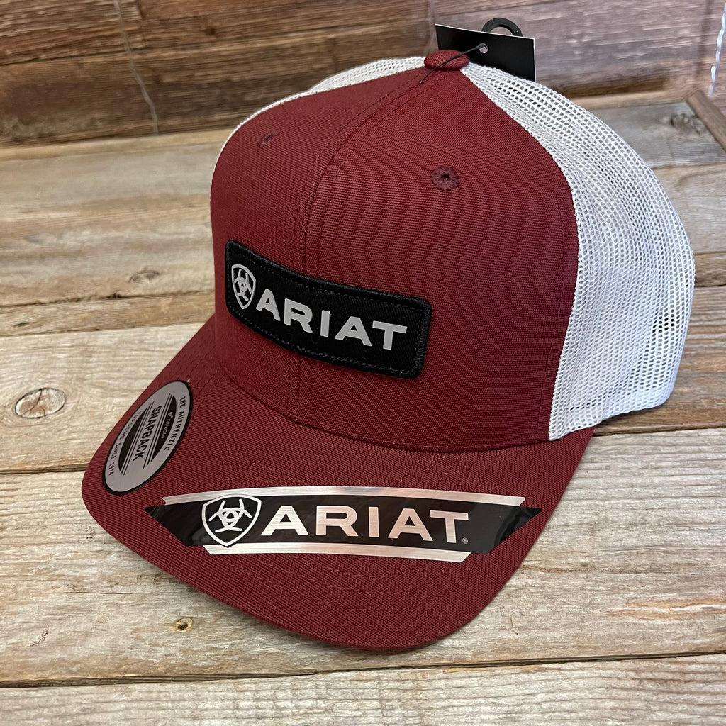 Men's Ariat Red Cap with Rectangle Logo Patch a300015504