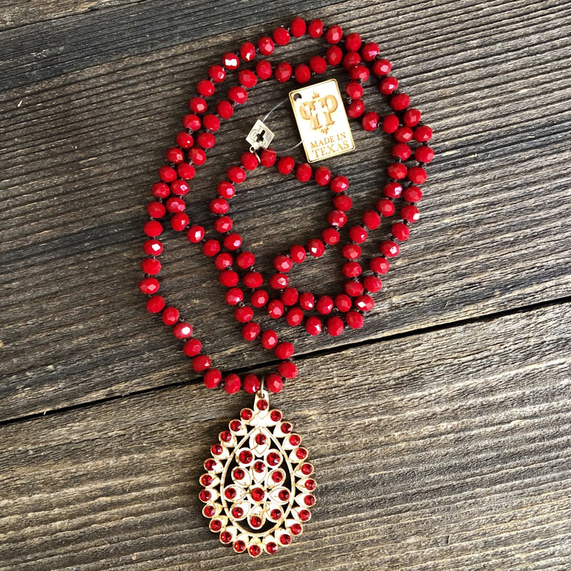 Long Red Beaded Necklace with Santa Fe Crackle Wood Teardrop Pendant with Red Crystals