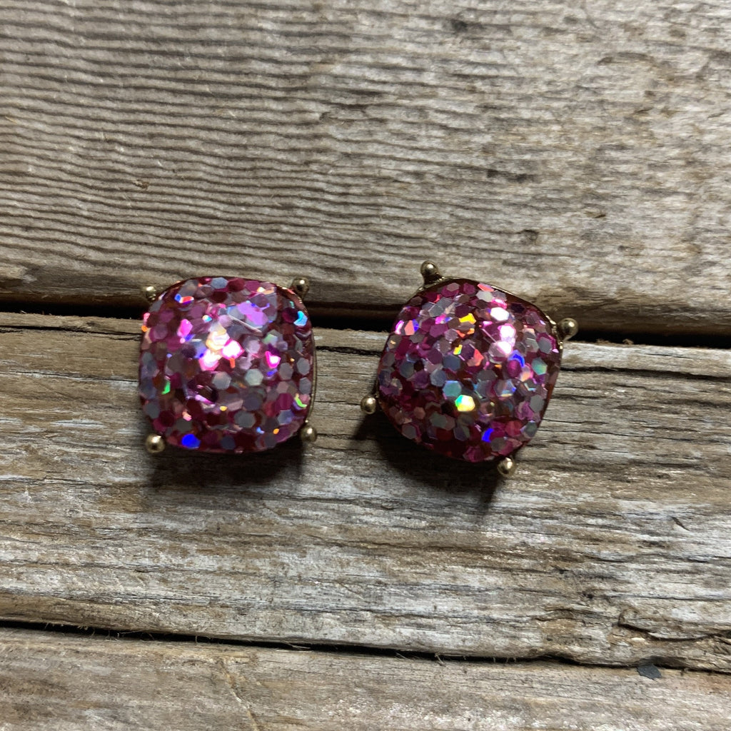 Cushion Cut Glitter Stud Earring