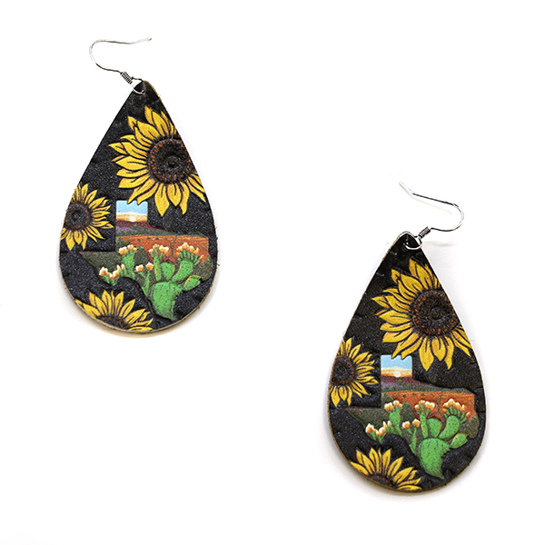 Texas Sunflower Leather Earring