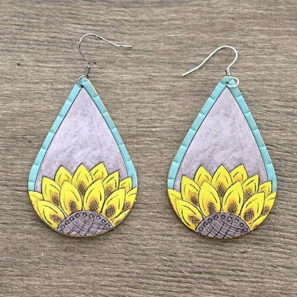 Teardrop Sunflower Leather Earrings