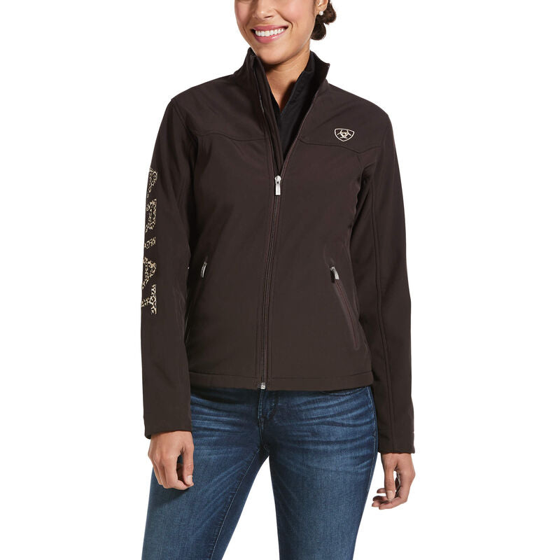 New Team Softshell Jacket- COFFEE /LEOPARD