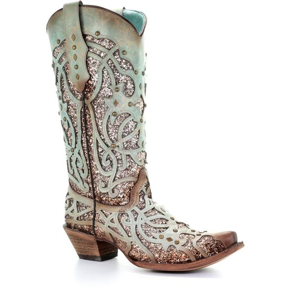 Brown and Burnished Turquoise with Glitter Inlay Snip Toe Boots
