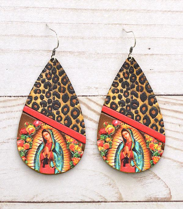 Leather Lady Of Guadalupe Earrings