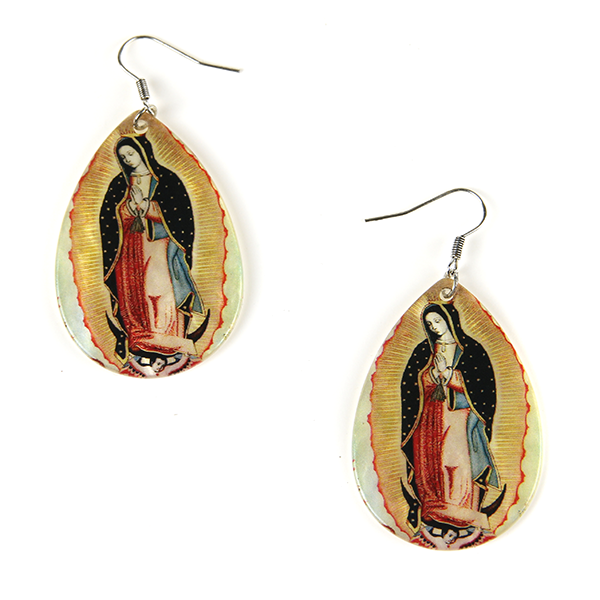 Resin Virgen De Guadalupe Earrings