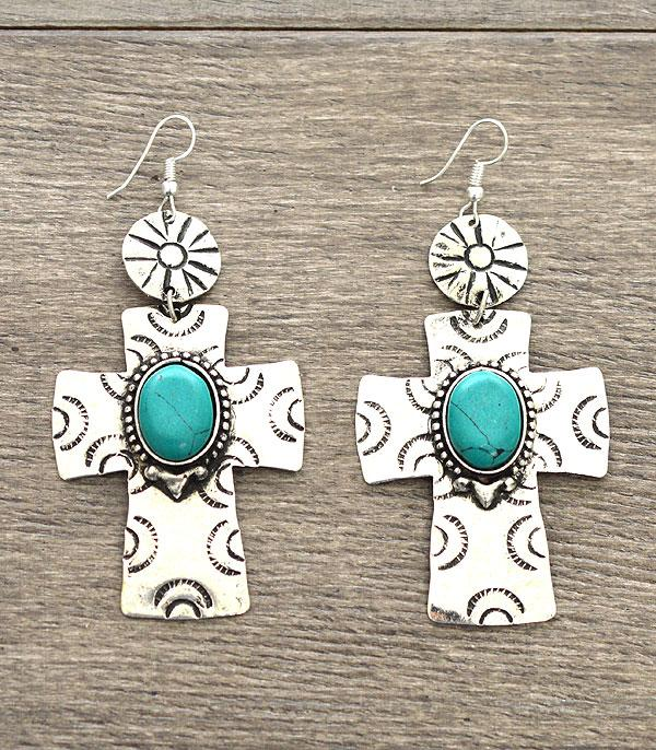 Turquoise Accent Cross Earrings