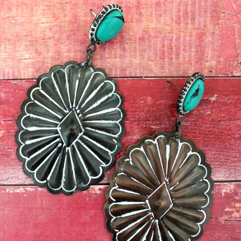 CODY CONCHO WHITE PATINA EARRINGS