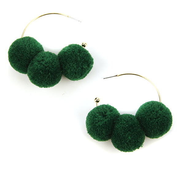 Pom Pom Earrings Hoops