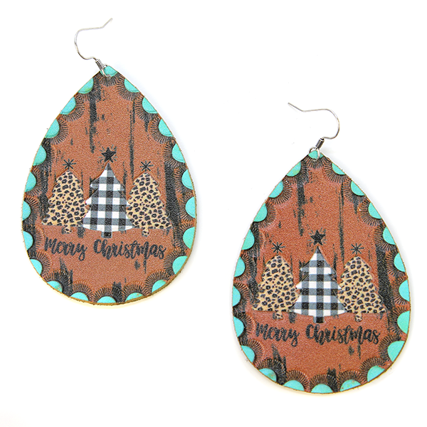 Leather Teardrop Christmas Earrings
