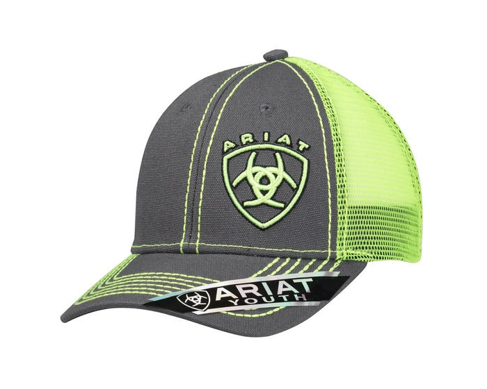 Ariat Boys Grey Cap With Lime Green  1514323