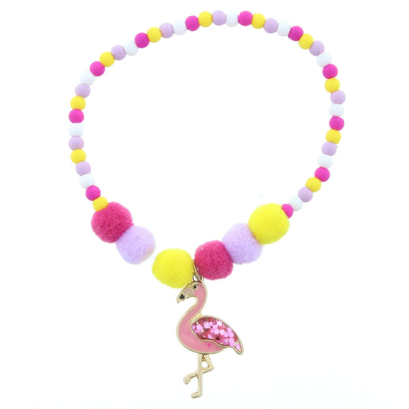 Kids Yellow, Lavender, White, Pink Beaded Flamingo With Glitter Wing Bracelet