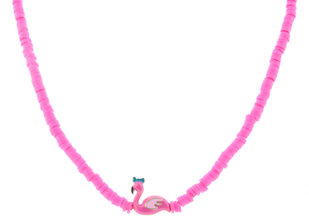 "14"" Pink Beaded Necklace With Flamingo Charm, 3"" Ext"