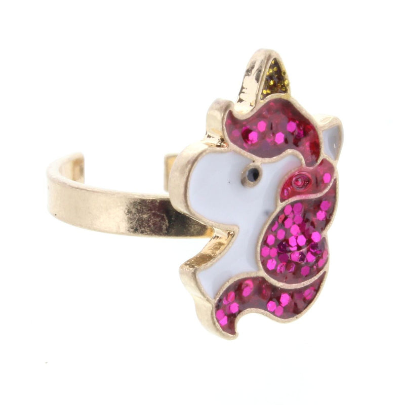 Kids Pink Glitter Unicorn Head Ring