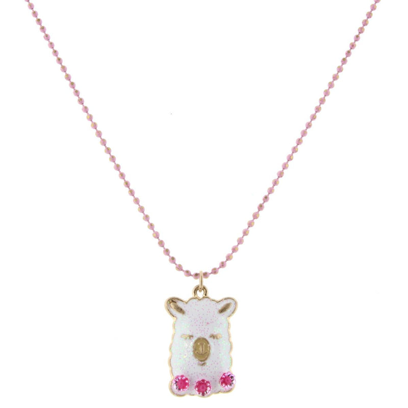 "14"" Kids Chain Colored Pink Chain With Glitter Llama Head & Flower Necklace, 2"" Ext"