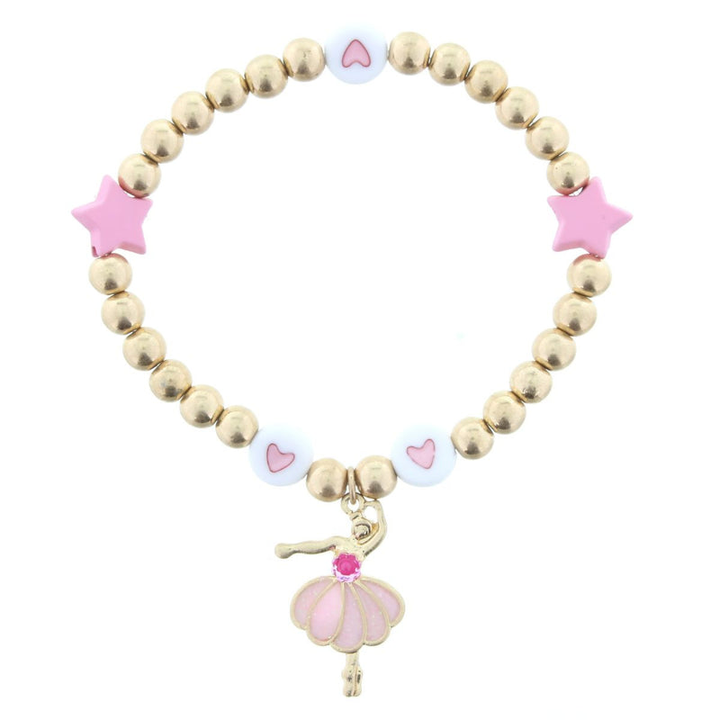 Kids Gold With Pink Star Beaded Bracelet With Pink Ballerina