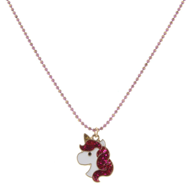 "14"" Kids Colored Lavender Chain with Glitter Unicorn Head, 2"" Ext"