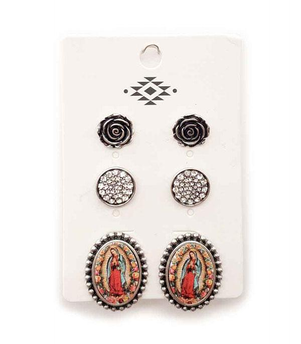 3PC Lady Of Guadalupe Set Earrings
