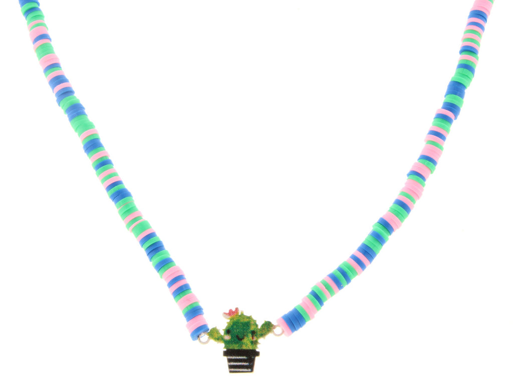 "14"" Kids Multi Color Beaded Necklace With Cactus  Charm, 3"" Ext"