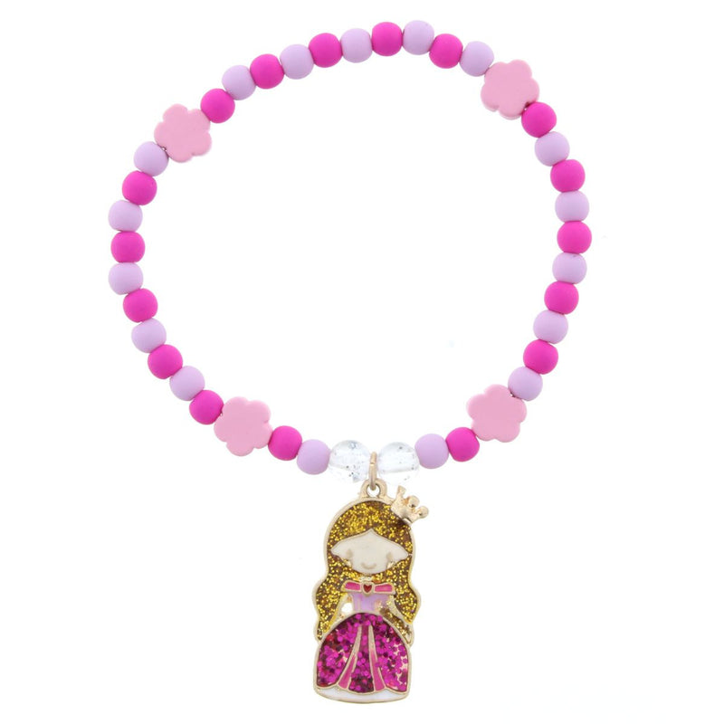 Kids Lavender & Hot Pink Beaded Glitter Stretch Princess Bracelet