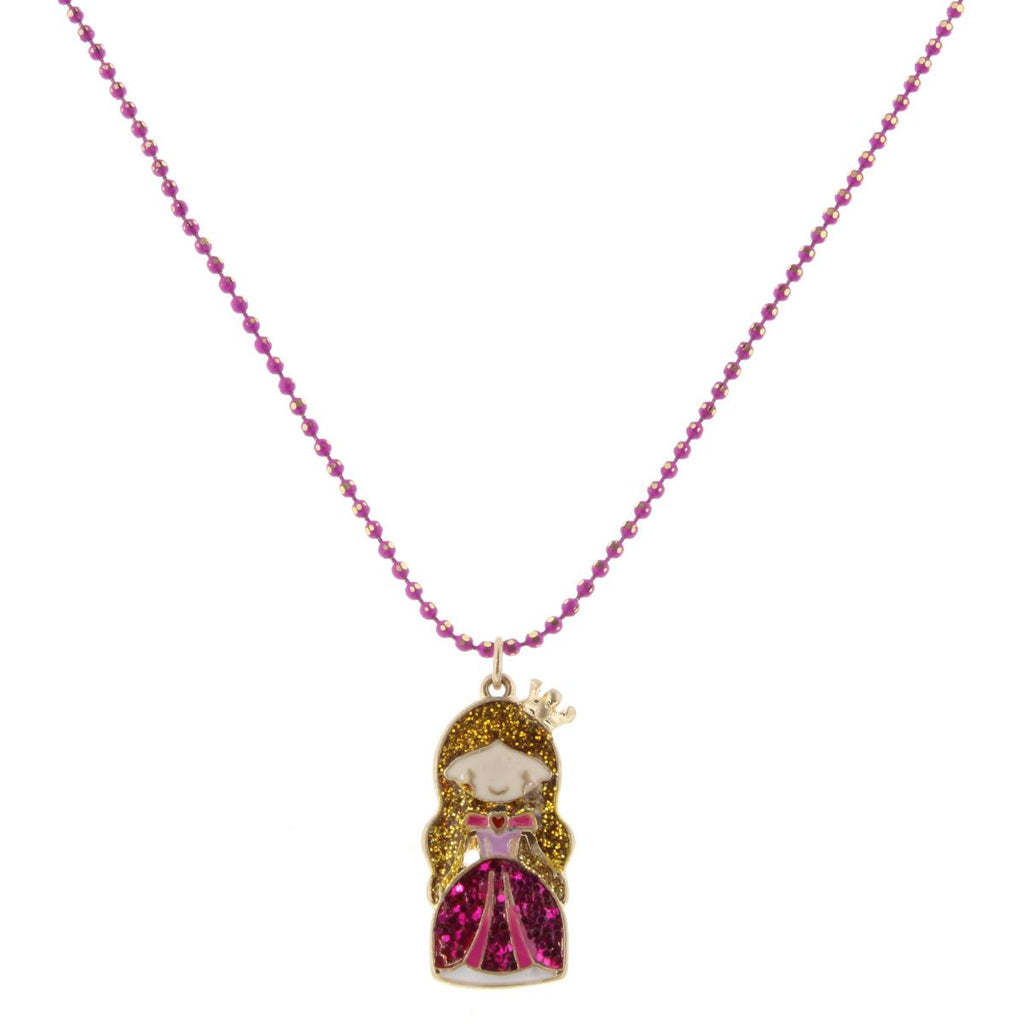 "14"" Kids Colored Raspberry Chain with Glittered Princess"