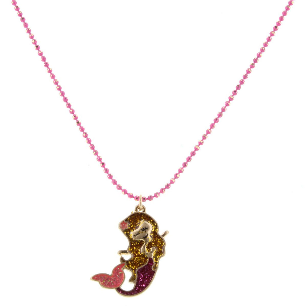 "14"" Kids Colored Hot Pink Chain with Glittered Mermaid, 2"" Ext"