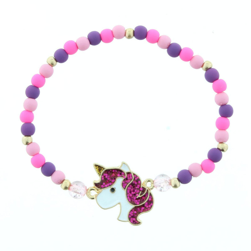 Kids Light & Hot Pink With Purple Beaded Stretch Bracelet With Unicorn Head