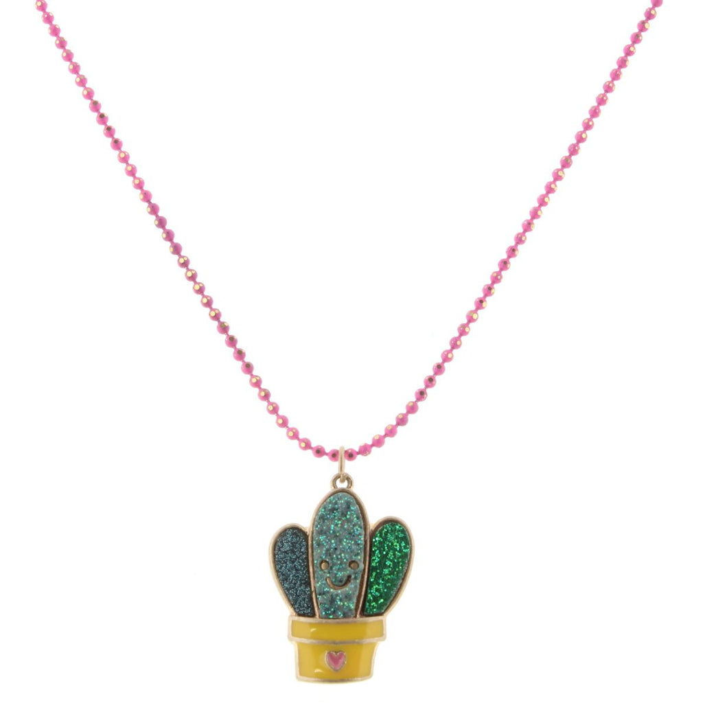 "14"" Kids Colored Hot Pink Chain With Glitter Cactus, 2"" Ext"