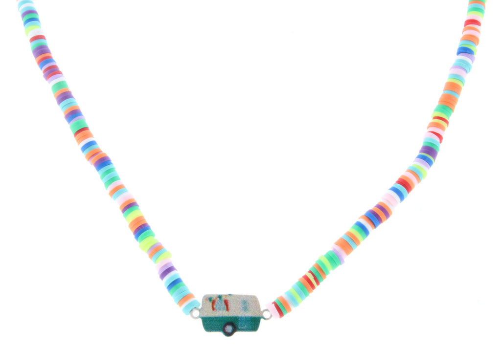 "14"" Kids Multi Color Beaded Necklace With Camper Charm, 3"" Ext"