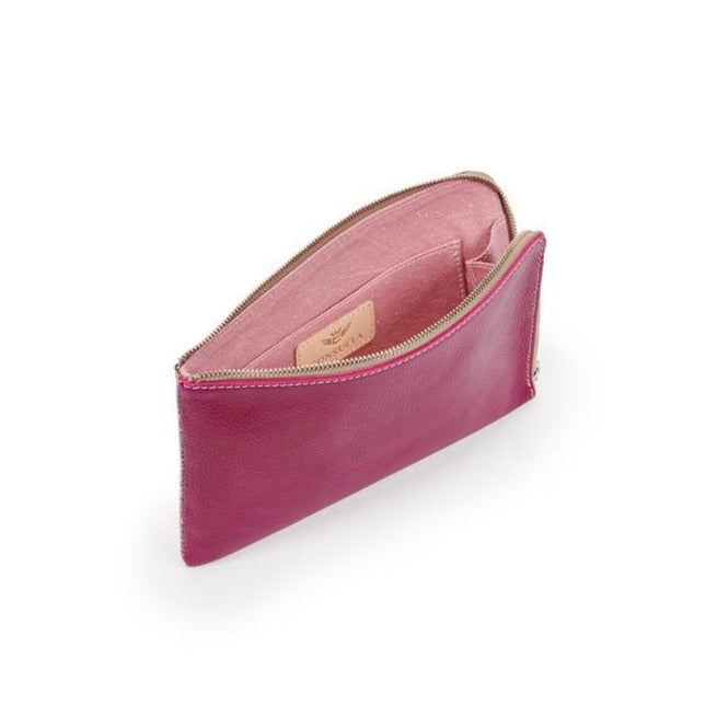 Raspberry Beret Leather L-Shaped Clutch