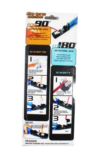 termination tool for cat6a and one hundred and eighty degree keystone jacks low priced