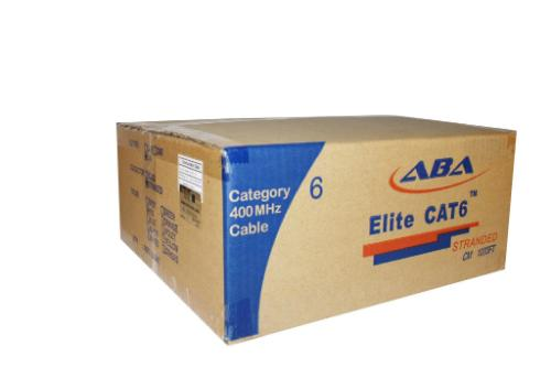 cat6 stranded cm rated UTP 28awg bulk cable 1000 ft.