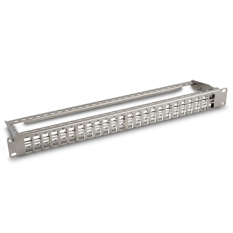 CAT8 / 7A/ 6A High Density Patch Panel, 1U 48-Port Blank Patch Panel