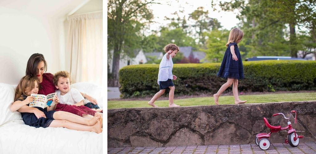 Two Images. One of a woman in cranberry cotton eyelet top and skirt with her two kids. One with a little boy wearing a white popover with blue embroidery and navy shorts and a girl wearing a navy swing dress with lace inserts and flutter sleeves. They are walking on a wall.