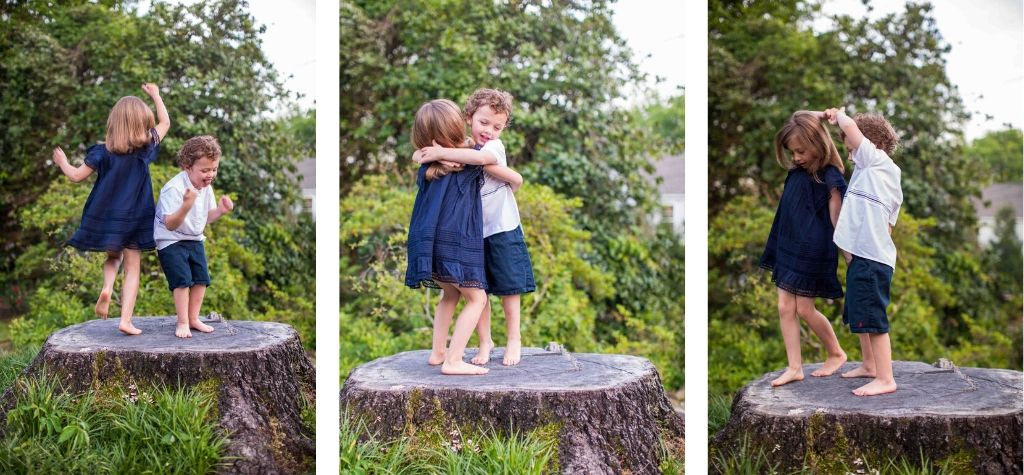 Three images of a young girl and boy dancing on a tree stump. The girl is wearing a navy cotton voile dress with lace inserts and flutter sleeves. The boy is wearing a white popover with blue embroidery at the waist.