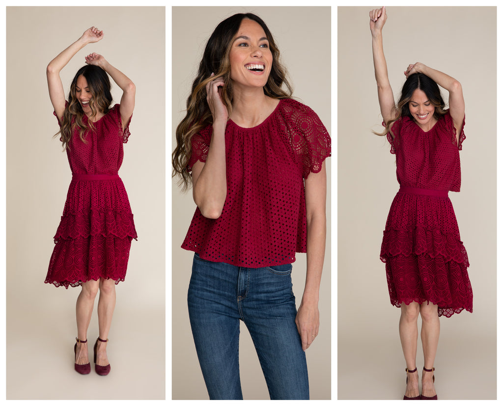 Three images of a burnette woman in cranberry eyelet outfit. In the first and third image she is dancing. In the middle image she has her hand in her hair and is looking off camera.