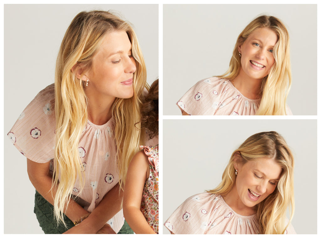 Blonde woman in a pink shirt with pansy floral print and lurex stripe leaning over the shoulder of a little girl off camera. Two images to the right are of the same blonde woman smiling and looking at the camera and smiling and looking down. She is wearing a pink pansy print top with lurex stripe in both images.