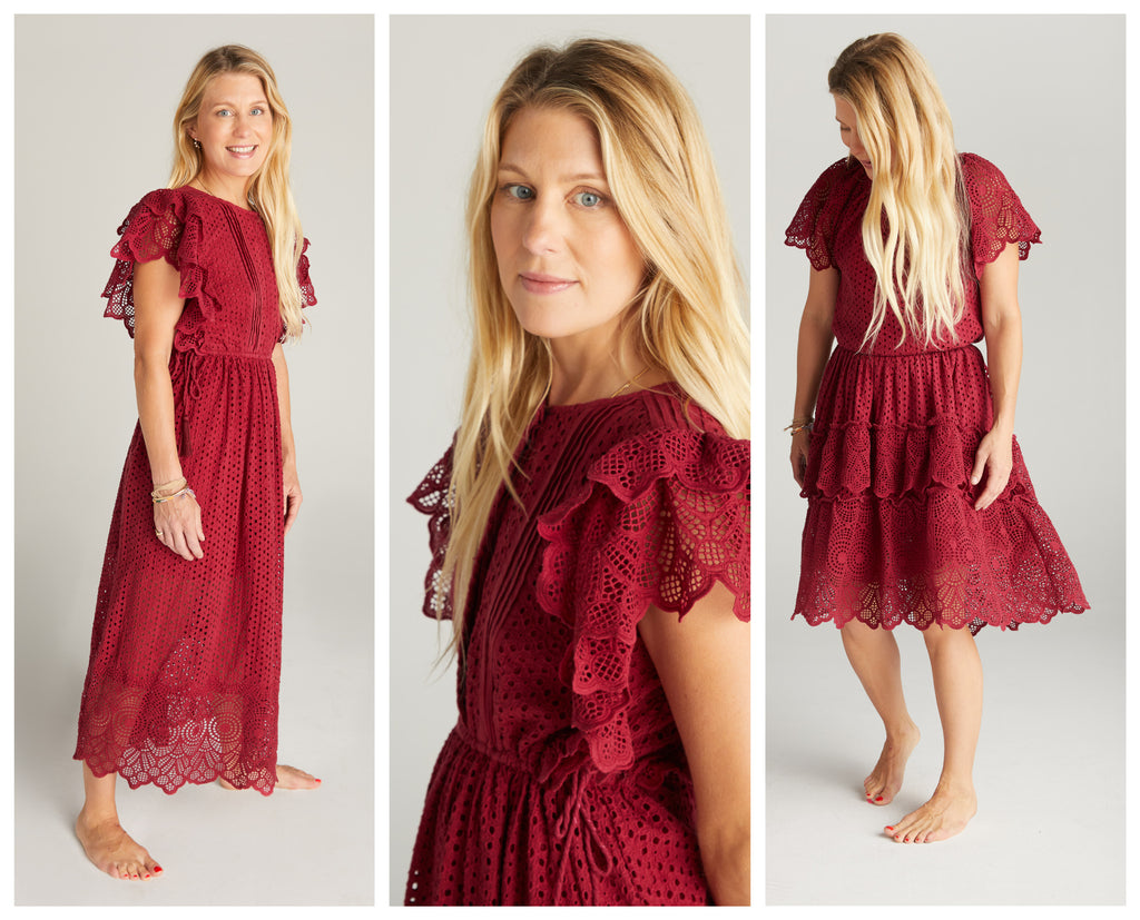 Three images of a blonde woman wearing a cranberry button down dress with tie waist and flutter sleeve. The eyelet is the color Cranberry.