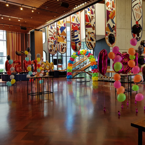 Colourful Balloon decorations by Pop Balloons inside Michael Fowler Centre