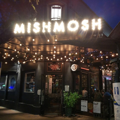 Light up sign at mishmosh venue on Courtney place for parties