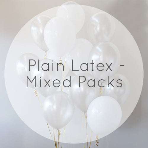 Plain Latex Balloons - Mixed Packs