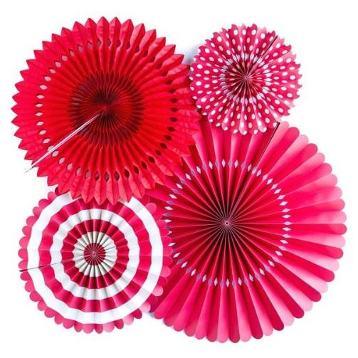 My Minds Eye Basics Party Fans - Red