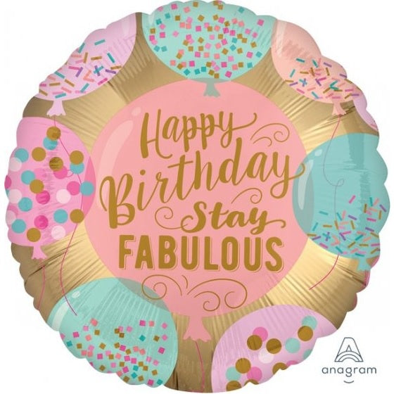 Happy Birthday Stay Fabulous Foil Balloon