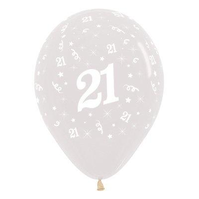 6 Pack Age 21 Balloons - Crystal Clear