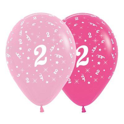 6 Pack Age 2 Balloons - Pink & Hot Pink
