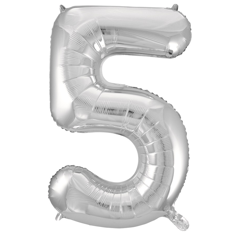 Giant Silver Number Foil Balloon - 5