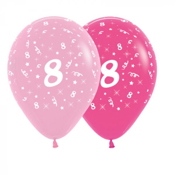 6 Pack Age 8 Balloons - Pink & Hot Pink