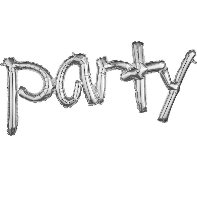 Silver Script Foil Balloon Banner Phrase - Party