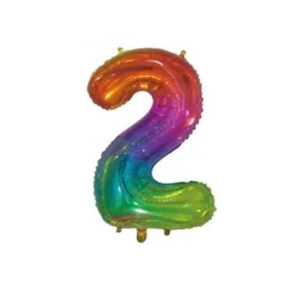 Giant Rainbow Number Foil Balloon - 2 | Party Choice