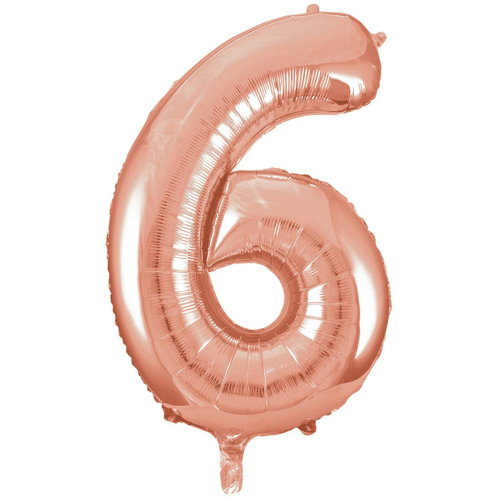 Giant Rose Gold Number Foil Balloon - 6