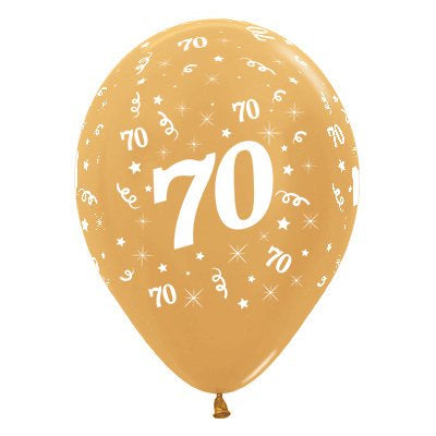 6 Pack Age 70 Balloons - Metallic Gold